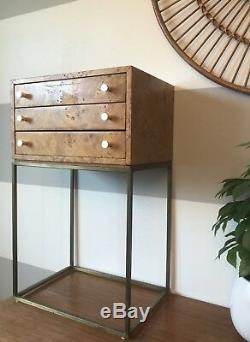 Milo Baughman Vtg Mid Century Modern Burl Jewelry Chest Cabinet Credenza Dresser