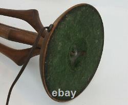 Modeline Mid Century Modern Table Lamp Walnut & Brass Vintage 50s 60s Sculptural
