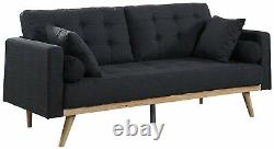 Modern Couch with Tufted Linen Cushions & 2 Accent Pillows, Grey Vintage Sofa