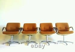 Orange Chrome Vintage Mid Century Danish Modern Chairs Dining Office Swivel Arm