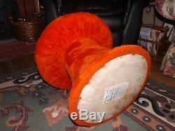 Orange Mushroom Toad Stool Ottoman Mid Century Modern Fuzzy Hippie Vintage 1960s