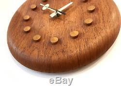 Original Vintage George Nelson Fritz Hansen Teak Wall Clock Mid Century Modern