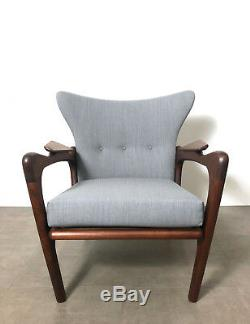 Pair Adrian Pearsall Wingback Lounge Chairs Restored Vintage Mid Century Modern