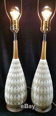 Pair Geometric Atomic Teak Danish Table Lamps Ceramic Vintage Mid Century MCM