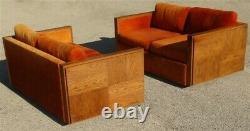 Pair Mid Century Danish Modern Lane Brutalist Orange Love Seats