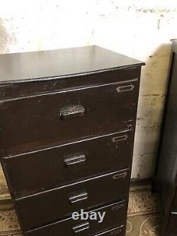 Pair Of Vintage Mid Century Tallboy Drawers Bedsides Industrial Brown Military