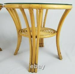Pair Vintage Bamboo Glass Top End Tables Tiki Bohemian Mid-Century