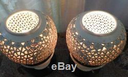 Pair Vintage Mid-Century Blanc de Chine Reticulated Porcelain Table Lamps
