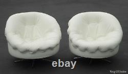 Pair Vintage Mid Century Milo Baughman Swivel Club Chairs w Tufted White Vinyl
