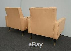 Pair Vintage Mid Century Modern Coral Accent Chairs