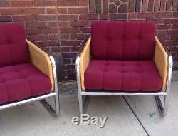 Pair Vintage Mid Century Modern Martin Visser Chrome Wicker Lounge Club Chairs