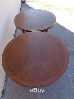 Pair Vtg Adrian Pearsall Attr Lane Round Sculptural Base Walnut Side End Tables