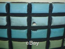 Pair Vtg Mid Century Plaster Fortune Table Lamps Blue Green Turquoise Mosaic 60s