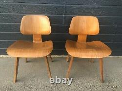 Pair of Eames LCW Evans Chairs Vintage Mid-Century