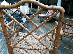 Pair of Vintage Mid Century Chinese Chippendale Bamboo Rattan Chairs