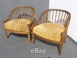 Pair of Vintage Mid Century Modern Orange Velvet Accent Arm Chairs