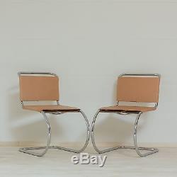 Pair of Vintage Mies Van der Rhoe MR Chairs Mid-Century Modern Bauhaus Eames