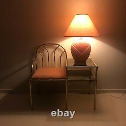 Pink 80s Glass Table Lamp Midcentury Modern Vintage Retro Hollywood Regency