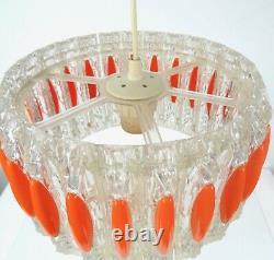 Plastic Fantastic 70s MID Century Modern Vintage Orange Ceiling Hanging Lamp