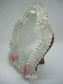 Pretty Vintage Venetian Murano Glass Table / Wall Vanity Mirror Mid 20th Century