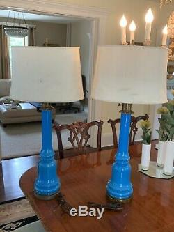 Rare Pair Of Vintage French Mid Century Modern Blue Opaline Table Lamps