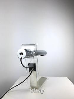 Rare Vintage Italian Tubular Chrome Lucite Table Desk Lamp Mid Century Modern