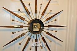 Rare Vtg 31 MID Century Eames Atomic Elgin Sunburst Starburst Wall Clock Retro