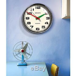 Retro Vintage George Nelson Style Mid Century Modern Chrome Wall Clock