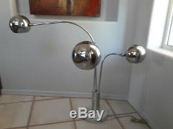 Robert Sonneman Style Vintage Midcentury Style Triple Eyeball Chrome Table Lamp