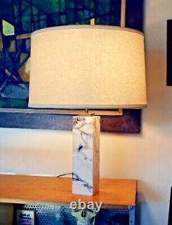 Robsjohn Gibbings Hansen Vtg Mid Century Modern Marble Brass Bronze Table Lamp