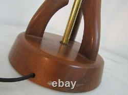 Sculptural Vtg Wood Table Lamp Mid Century Danish Modern Modeline Pearsall Style