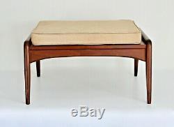 Selig Vtg Mid Century Danish Modern Walnut Wood Z Chair Ottoman Stool Dux Larsen