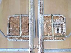 Set 2 Vtg 70s Mariani Mid Century Modern Z Stools Barstools Wicker Chrome Italy