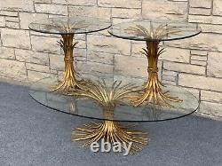 Set of 3 Mid Century Hollywood Regency Wheat Gilded & Glass Coffee & End Tables