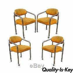 Set of 4 Vintage Chromcraft Mid Century Modern Tubular Chrome Dining Arm Chairs