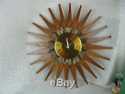 Seth Thomas Wall Clock Mid Century Modern Teak Starburst VTG Stylemaste E630-001