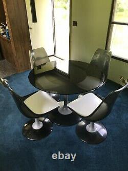 Smoked Lucite and Chrome Dining Set by Chromecraft, Mid Century Modern