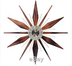 Starburst Wall Clock Mid Century Analog Metal Wood Retro Vintage Home Decor Star