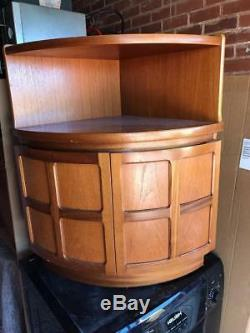 Superb Curved Bow Teak Nathan Corner Cupboard Unit Vintage Mid Century