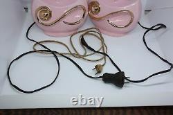 True Vintage Pair Pink Lamps Gold Ceramic Mid Century Modern Small Medium