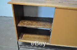 Umanoff Vtg Mid Century Danish Modern Wrought Iron Slat Bar Cabinet Credenza