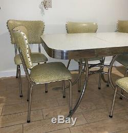 VINTAGE 50s RETRO MID-CENTURY MODERN FORMICA DINETTE SET-TABLE withLEAF, 6 CHAIRS
