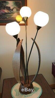 VTG Danish Mid Century Modern Teak Wood Brass Tulip Table Lamp Eames Era Retro