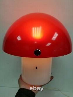 VTG Gilbert Style MCM Mid Century Mushroom Red White Table Lamp Mushroom Space