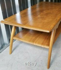 VTG Heywood Wakefield 2 Tiered Coffee Table Curved Legs Champagne Mid Century