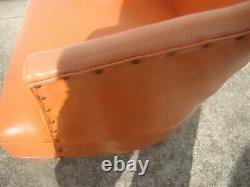 VTG Mid Century Barrel Back Swivel Chair Orange GREAT For Your 50s 60s 70s Decor