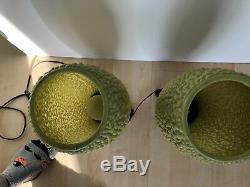 VTG Pair MID Century Modern Green Bubble Beehive Plastic Tripod Lamp