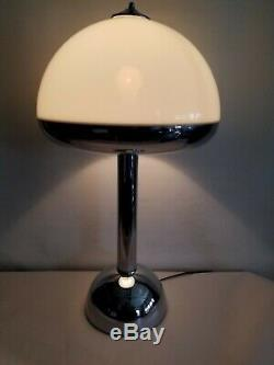 VTG Unusual Style MCM Mid Century Majestic Chrome Table Lamp Mushroom Space 1960