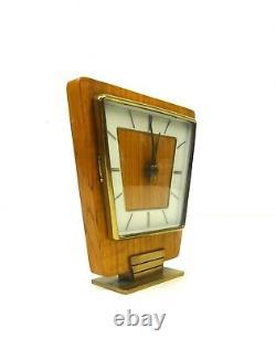 Very Rare Stunning MID Century Modernism Teak Table Clock Vintage 1960