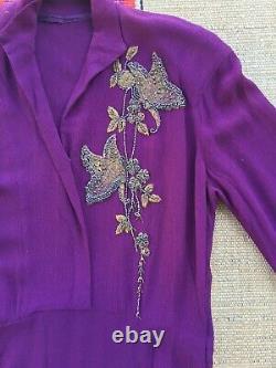 Vintage 1940s Rayon Crepe Dress Beaded Butterflies Flowers Aubergine 33 Waist